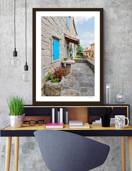 Discover «Town of Hum old cobbled street view», Numbered Edition Fine Art Print by Anna Maloverjan - From $19 - Curioos  hum, old, town, croatia, istria, architecture, europe, mediterranean, street, tourism, village, ancient, city, heritage, house, istra, medieval, alley, building, stone, wall, croatian, historic, homes, path, paved, road, rock, scene, sidewalk, traditional, way, square, walkway, setting, rural, landmark