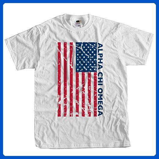 Fast Yeti Tees Adult Alpha Chi Omega July 4th America Tee ST Large White - Holiday and seasonal shirts (*Amazon Partner-Link)