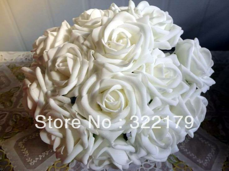 100X Fake Flowers White Foam Roses Bridal Bouquet Artificial Wedding Christams Decor Centerpiece Wholesale Lots