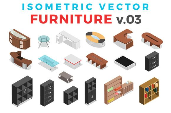 Vector Furniture Isometric Flat v.3 by Sentavio on @creativemarket