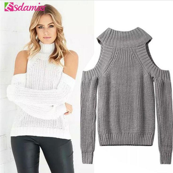 Turtleneck Off Shoulder Sweater Wanita Pullover Triko Seksi Kebesaran Jumper Tarik Femme Musim Gugur Busana Rajutan Atas