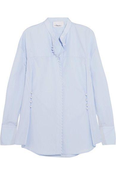 3.1 Phillip Lim - Faux Pearl-embellished Cotton-poplin Shirt - Blue