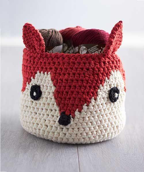 Foxy Stash Basket Crochet Pattern (FREE) - http://pinterest.com/Allcrochet