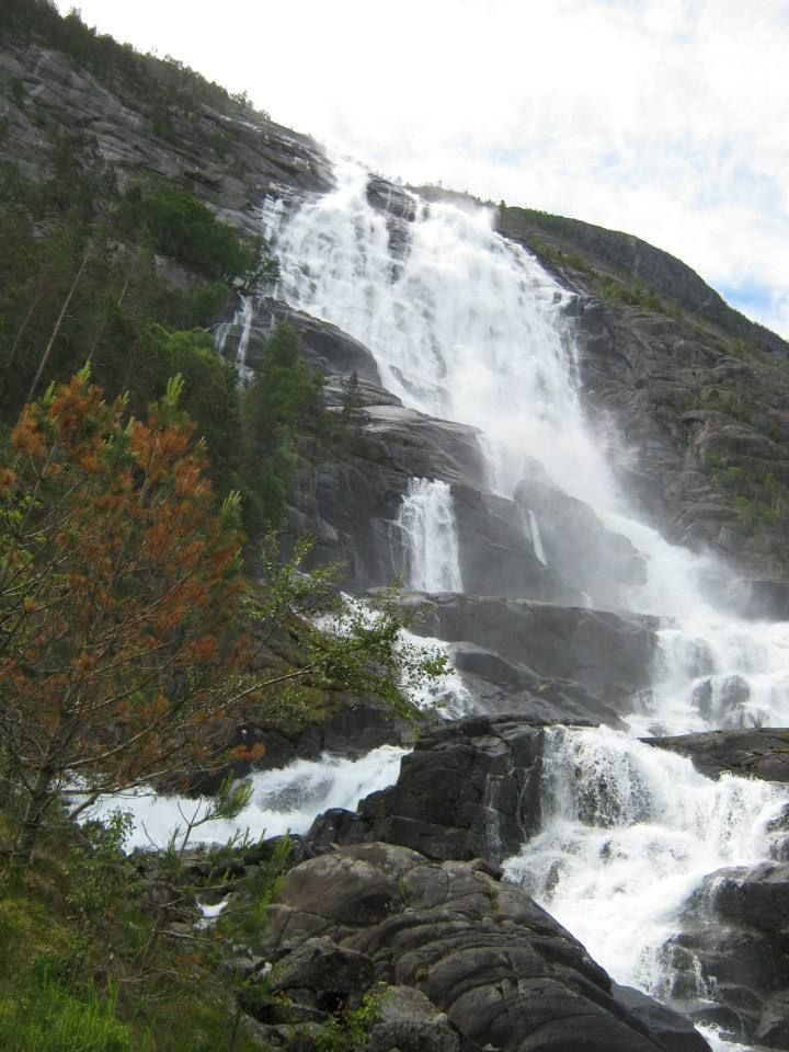 Langfoss. An amasing waterfall along Åkrafjorden. At the west side following E134 to Haugesund.