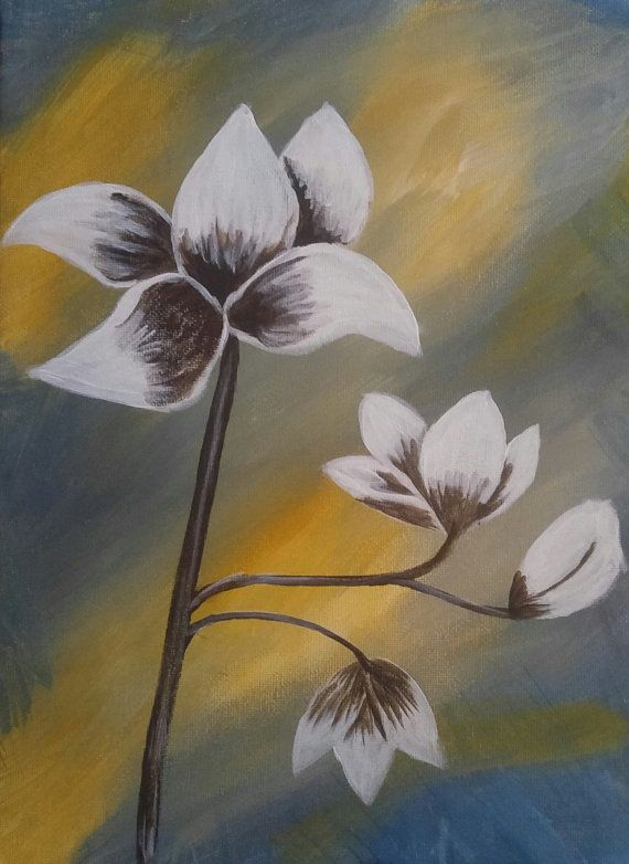 black and white flower by melacrylics on Etsy