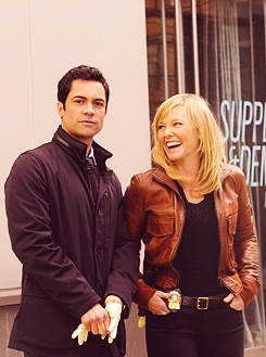 kelli giddish and danny pino on the set of law & order svu