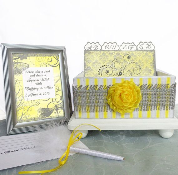 Wedding Guest Reception Box Set Citrus Pearl Yellow, White and Gray