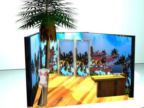 3D STUDIO MAX PROYECT FOR BIKINIS POP STORE MERCADO DE FUENCARRAL MADRID
