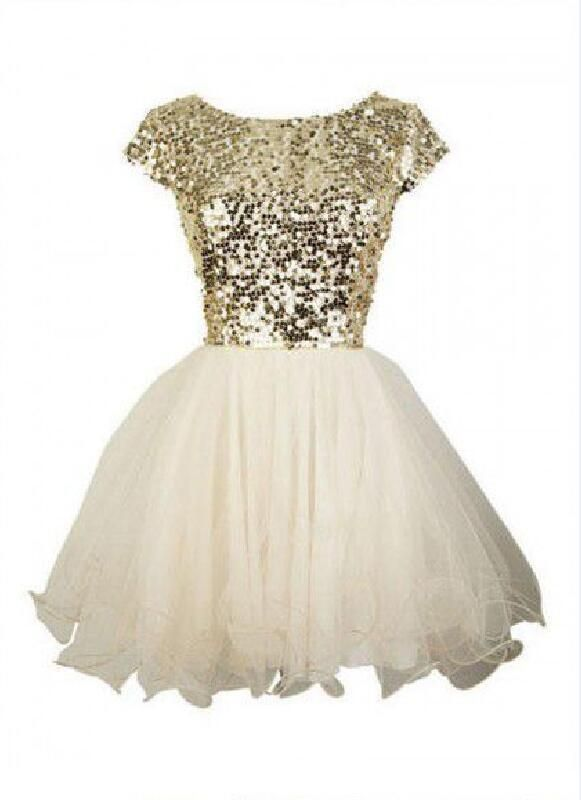 e44d563bdf1 Gold sequin short sleeve Tulle homecoming prom dresses