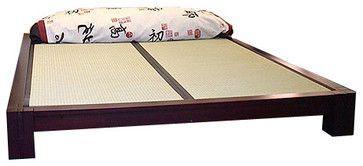 Tatami Platform Bed with Tatami Mats, Dark Walnut, King asian-platform-beds