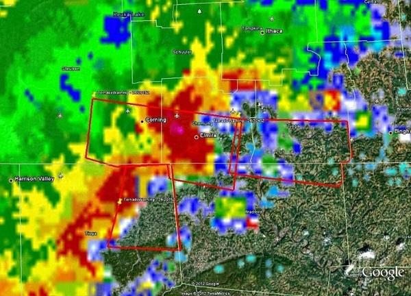 Close-up radar image o...