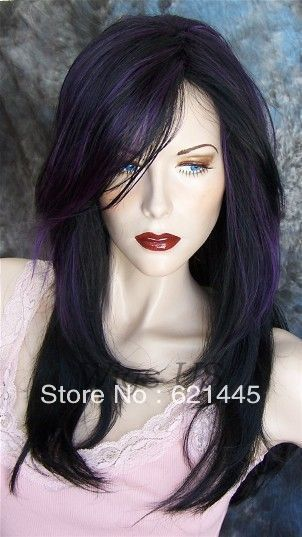 Imitate human Kanekalon Hair costum Fiber wigs Long Wig Black with Deep Purple Highlight Top Layers Wigs -in Synthetic Wigs from Beauty & He...
