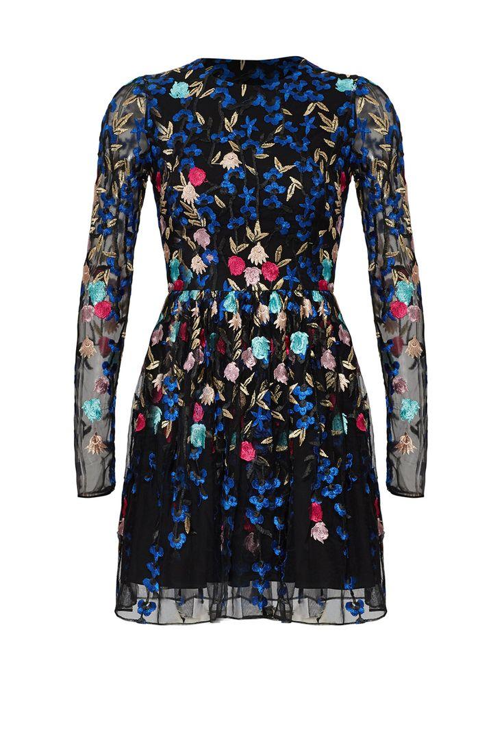 Badgley Mischka Embroidered Mesh Dress Dresses Mesh