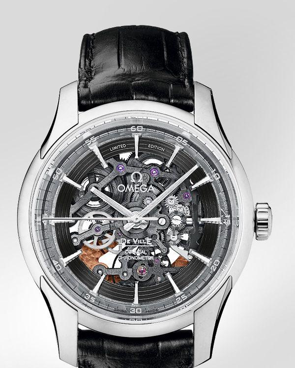 OMEGA Watches: De Ville Hour Vision - Platinum on leather strap - 431.93.41.21.64.001