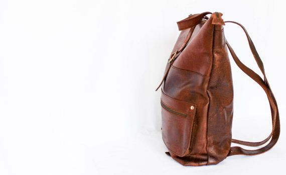 "Leather Backpack   Brown or Black   Stylish & Simplistic   Front pocket   Festival Bag   Cycle Bag      MEDIUM Size   15"" Laptop"