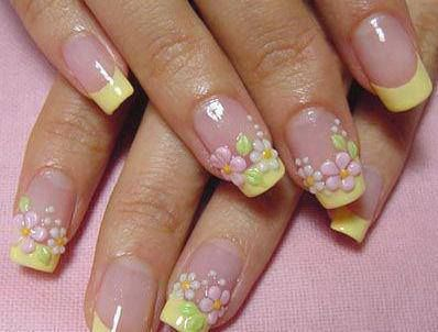 maybe with some yellow glitter tapped into gel polish. :)