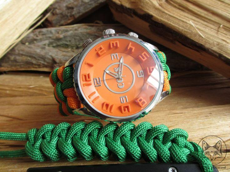 Helder groen met oranje 20cm | VOS Paracord