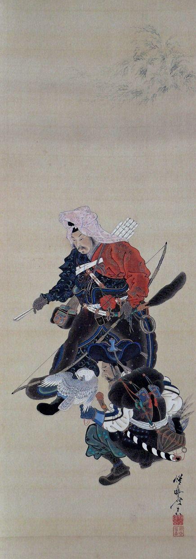 河鍋暁斎 - Kawanabe Kyosai Painting of an archer and... - TSM's Kimono yokubō