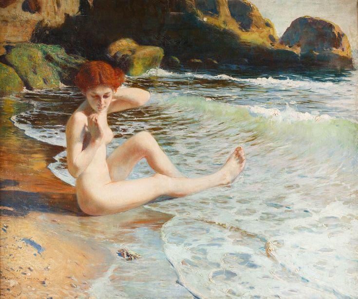 FELIKS MICHAŁ WYGRZYWALSKI (1875 - 1944)  AKT NAD BRZEGIEM MORZA   olej, płótno / 77 x 93 cm