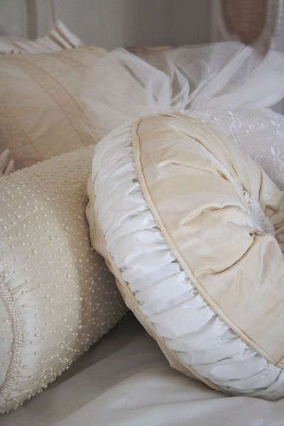 I really like this idea of reusing your wedding dress by making some pillows!                                                                                                                                                                                 More