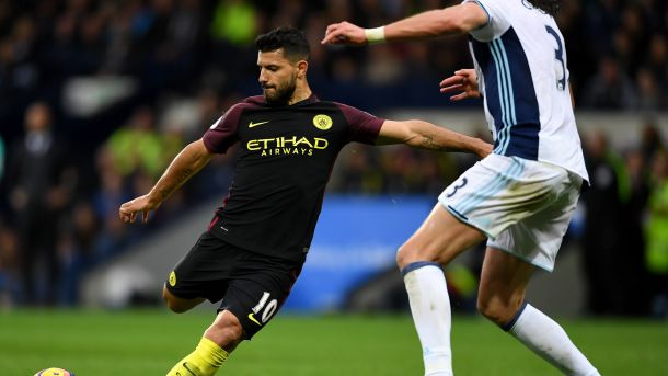 #soccer  WEST BROMWICH, ENGLAND - OCTOBER 29:  Sergio Aguero of Manchester City scores his team's second goal during the Premier League match between West Bromwich Albion and Manchester City at The Hawthorns on October 29, 2016 in West Bromwich, England.  (Photo by Laurence Griffiths/Getty Images)