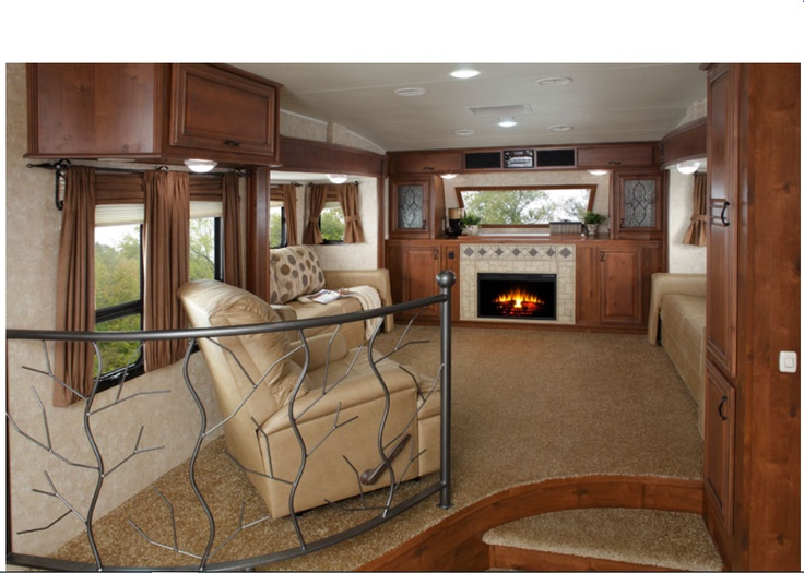 Living Room In Pinto Decor. Open Range Living Room Upper In Fifth Wheel