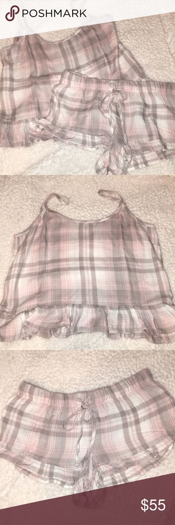 NWOT ANTHRO CLOTH & STONE PJ SET - SIZE S So adorable and comfy!  New without paper tags, but plastic tags still intact. Tank and shirts with adorable ruffle at the hem.   From a smoke free home.  Each piece was originally $48.  Offers considered! Anthropologie Intimates & Sleepwear Pajamas