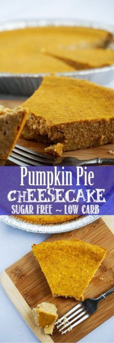 This Pumpkin Pie Cheesecake is the perfect combination of pumpkin and cheesecake flavors. Low carb and sugar free!