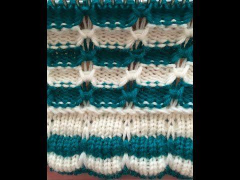 Easy machine knitting. Bobble stripe - YouTube