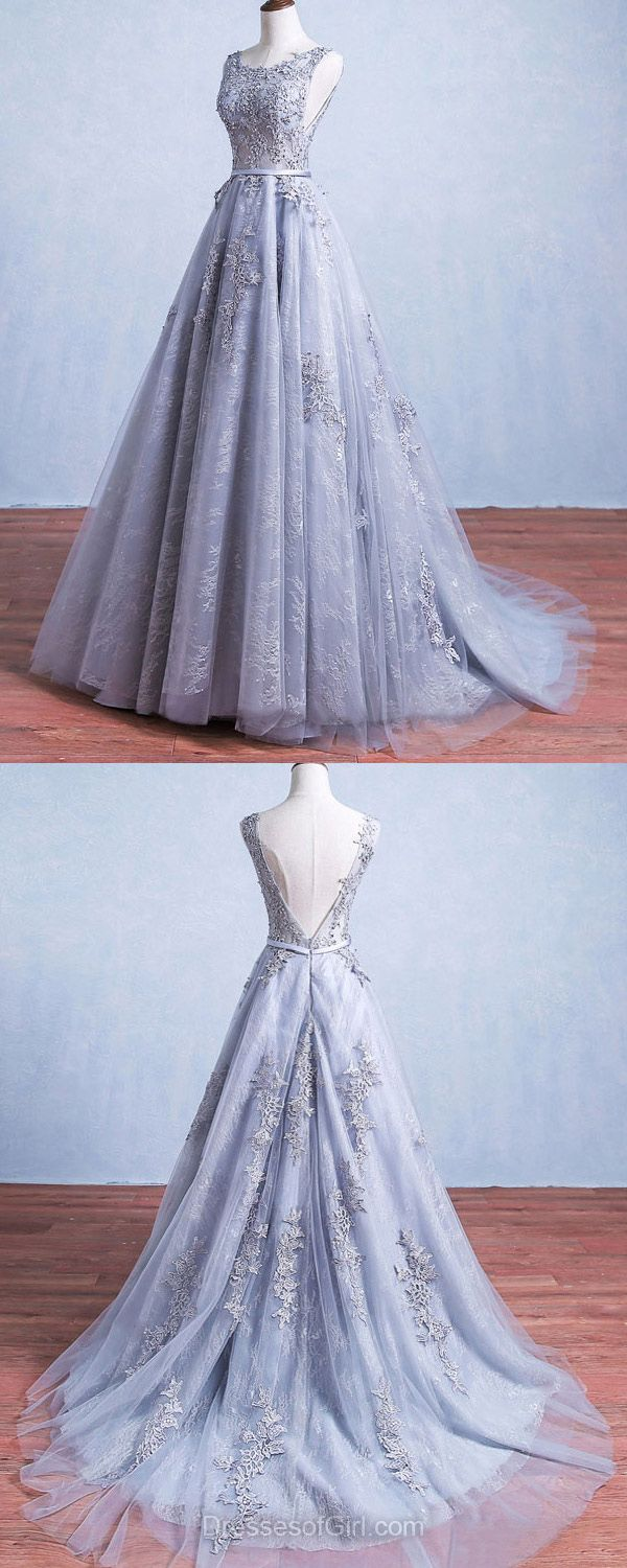 Beautiful Ball Gown Formal Dresses,Scoop Neck Lace long Evening Gowns,Tulle Sweep Train Party Dress, Appliques Lace Backless Prom Dresses