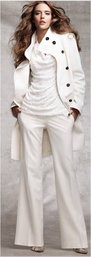 Winter White. Love the coat , especially the black buttons