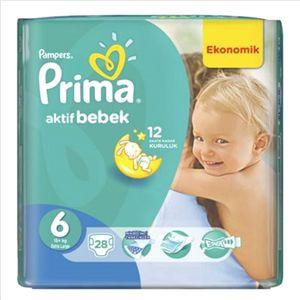 Prima Aktif 6 Beden Bebek Bezi Ekstra Large Ekonomik Paket 28 Adet Yıllardır Türkiye'nin bir numaralı bebek bezi tercihi Prima tüm bez ürünleri ile en uygun fiyatlara mağazalarımızda