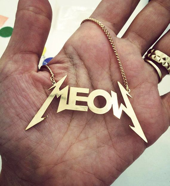 Gold necklace , Cat necklace , Meow necklace , crazy cat lady , cat women , cat lover.  The necklace plated with 24 Karet gold.  You can wear it with