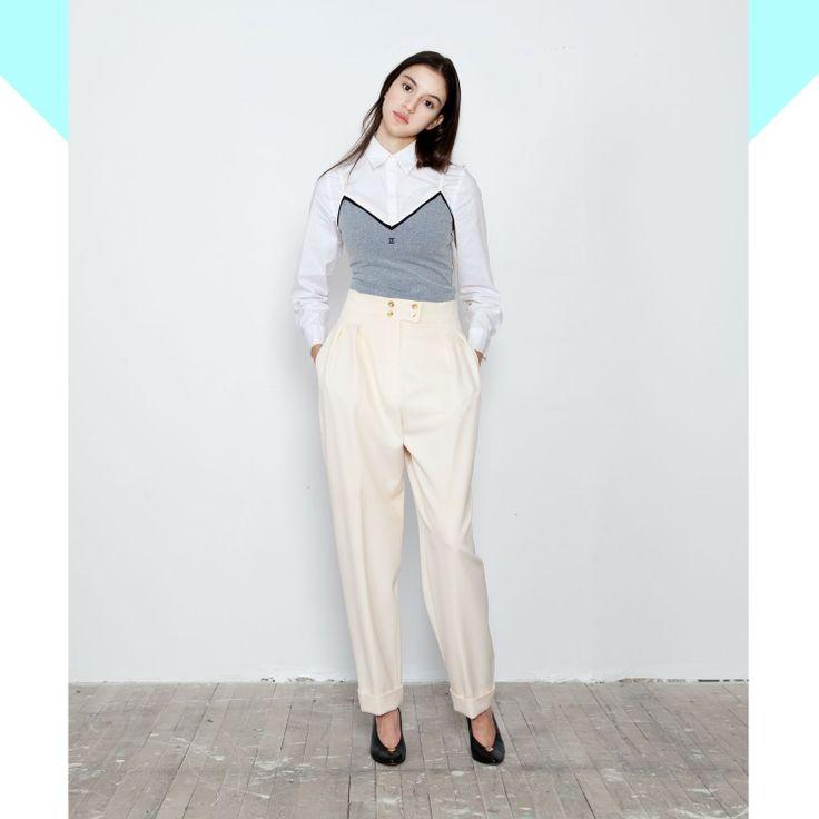 Chanel wide leg pleat pants - Vine Streets