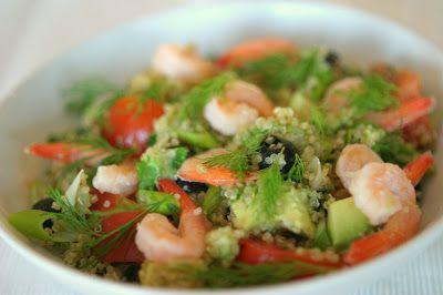 Marias Salt og Søtt: Quinoa-salat med avocado, reker og oliven