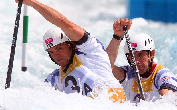 Tim Baillie and Etienne Stott on their way to gold in canoe slalom for Team GB