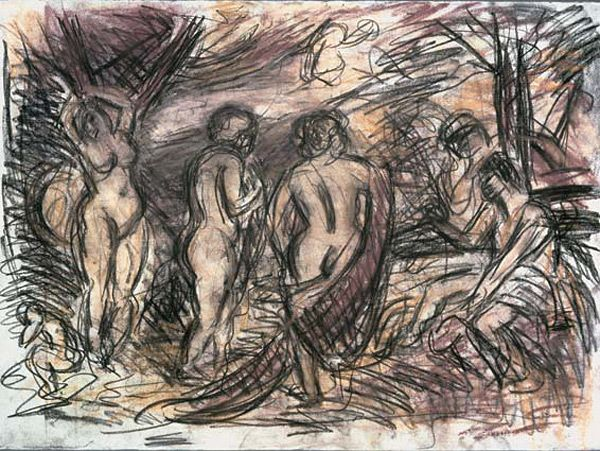 Leon Kossoff, From Rubens, The Judgement of Paris, charcoal and pastel on paper