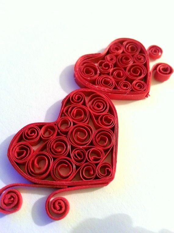 Jolie quilling carte voeux couleurs rouge coeur Valentine fait main
