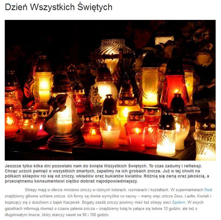 Z okazji zbliżającego się wielkimi krokami Dnia Wszystkich Świętych na naszym blogu kilka słów o zniczach. Zapraszamy do lektury! http://www.promocyjni.pl/blog/zobacz/7086-dzien-wszystkich-swietych