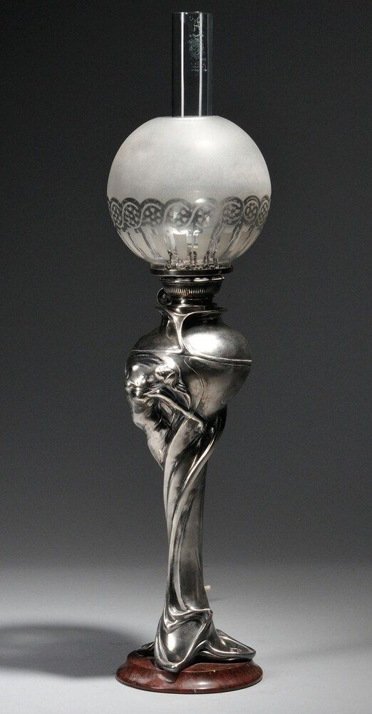 After Charles Émile Jonchery Art Nouveau Lamp Patinated metal, glass, marble Possibly WMF (Württembergische Metallwarenfabrik), Germany, 20th century