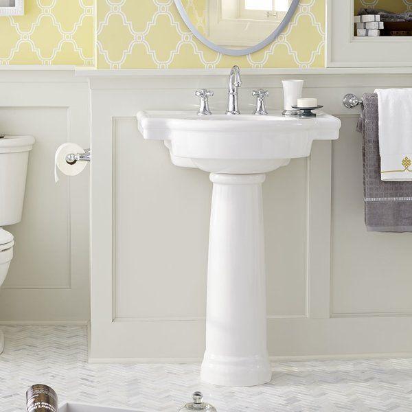 Retrospect Ceramic Specialty Pedestal Bathroom Sink With Overflow