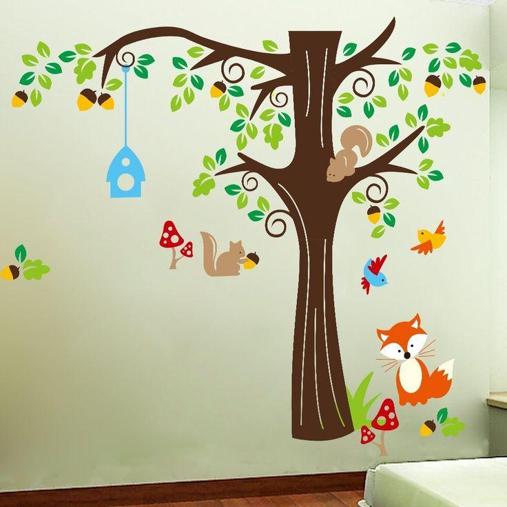 Good Wandtattoo Baum mit Eichh rnchen und Fuchs Tolle Deko f r ein Wald Kinderzimmer