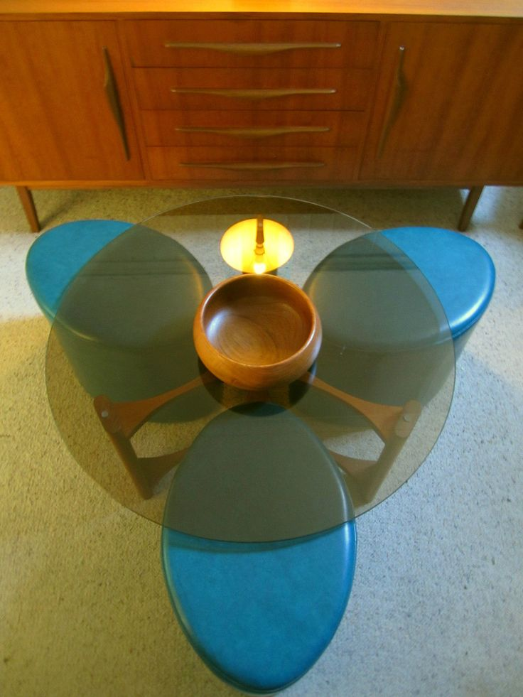 Vintage MID Century Rare Teal TH T H Brown Round Fondue Coffee Table Glass TOP in VIC | eBay