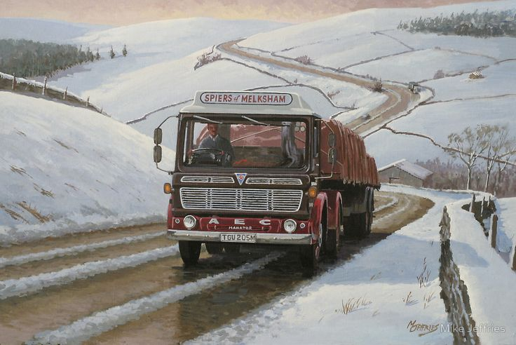 AEC Mandantor on Shap by Mike Jeffries - Before the opening of the M6 motorway there was a notorious climb just North of Kendal on the old A6 to Scotland which taxed many a lorry to the limit and here we see an AEC artic of Spiers Transport nearing Shap summit Northbound in typical weather conditions.