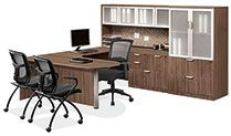Modern walnut OfficeSource office suite