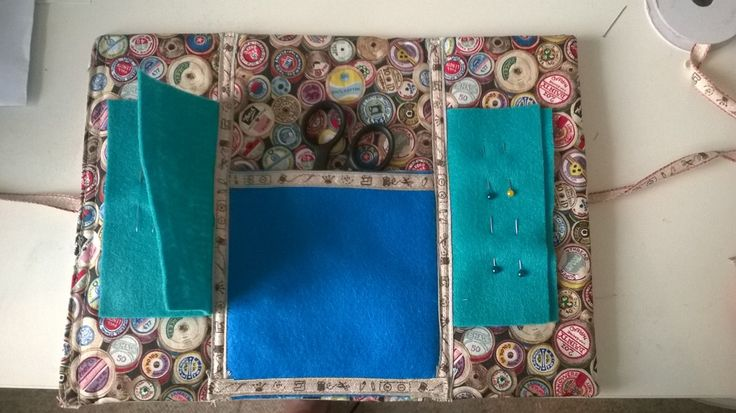 Inside of sewing kit roll featuring vintage cotton reel fabric print