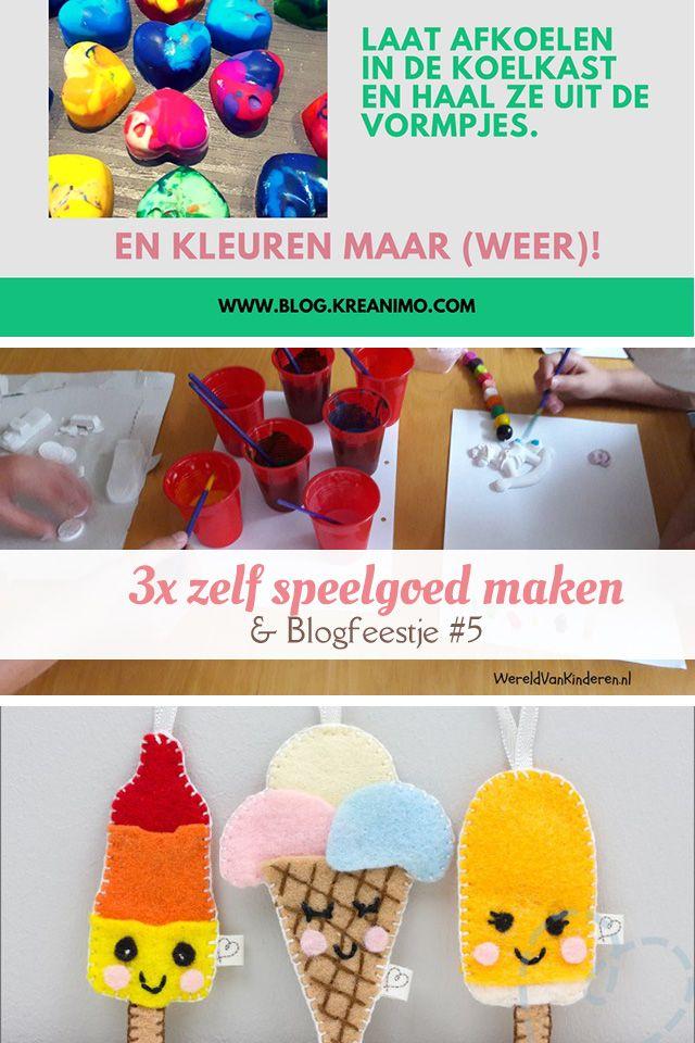 Drie leuke ideeën om zelf speelgoed te maken, ijsjes van vilt, waskrijtjes in coole vormpjes en een recept om verf te maken. #blogfeestje