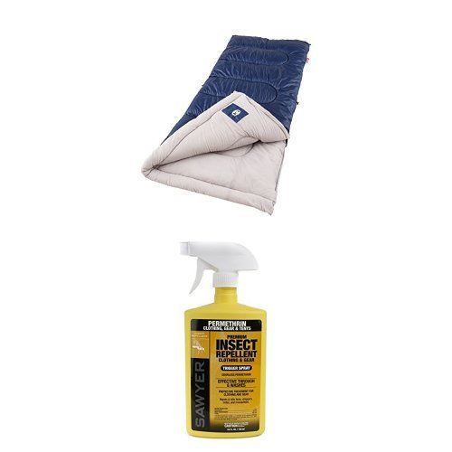 Coleman Brazos Cold-Weather Sleeping Bag and Sawyer Products SP657 Premium Permethrin Clothing Insect Repellent Trigger Spray, 24-Ounce (Spray Bottle Color May Vary). For temperatures 20 F to 40 F. Fits most heights up to 5 ft. 11 in.; Dimensions: 33 x 75 in. Effective against the Yellow Fever Mosquito. Insect-killing repellent for your clothing is effective against ticks, chiggers, mites and mosquitoes; as effective as 100 percent DEET.