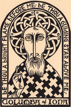 Columba of Iona linocut celtic christian prayer saint icon