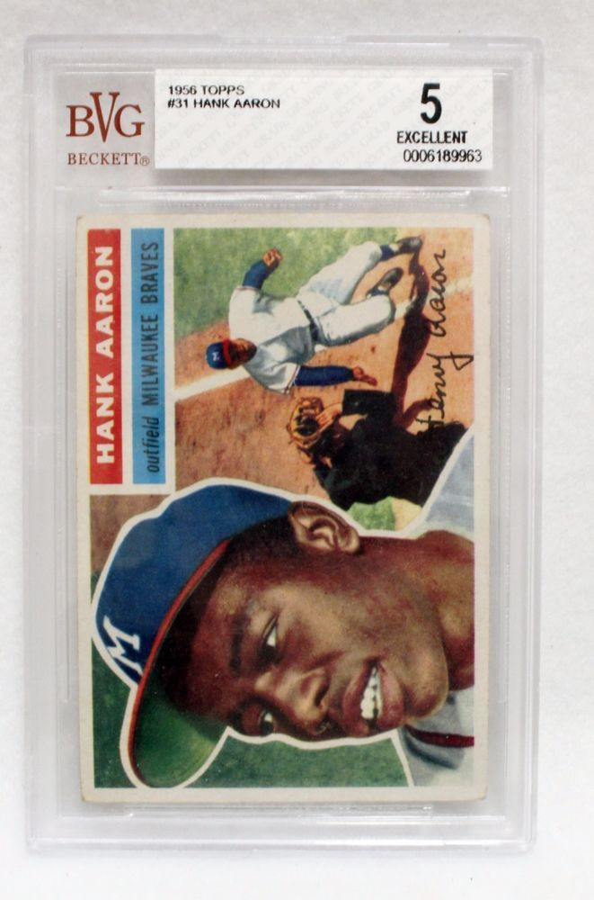 Hank Aaron 1956 Topps RC #31 BVG Excellent 5 Baseball Card MLB Braves Graded #Braves #hank #aaron #baseball #card #MLB